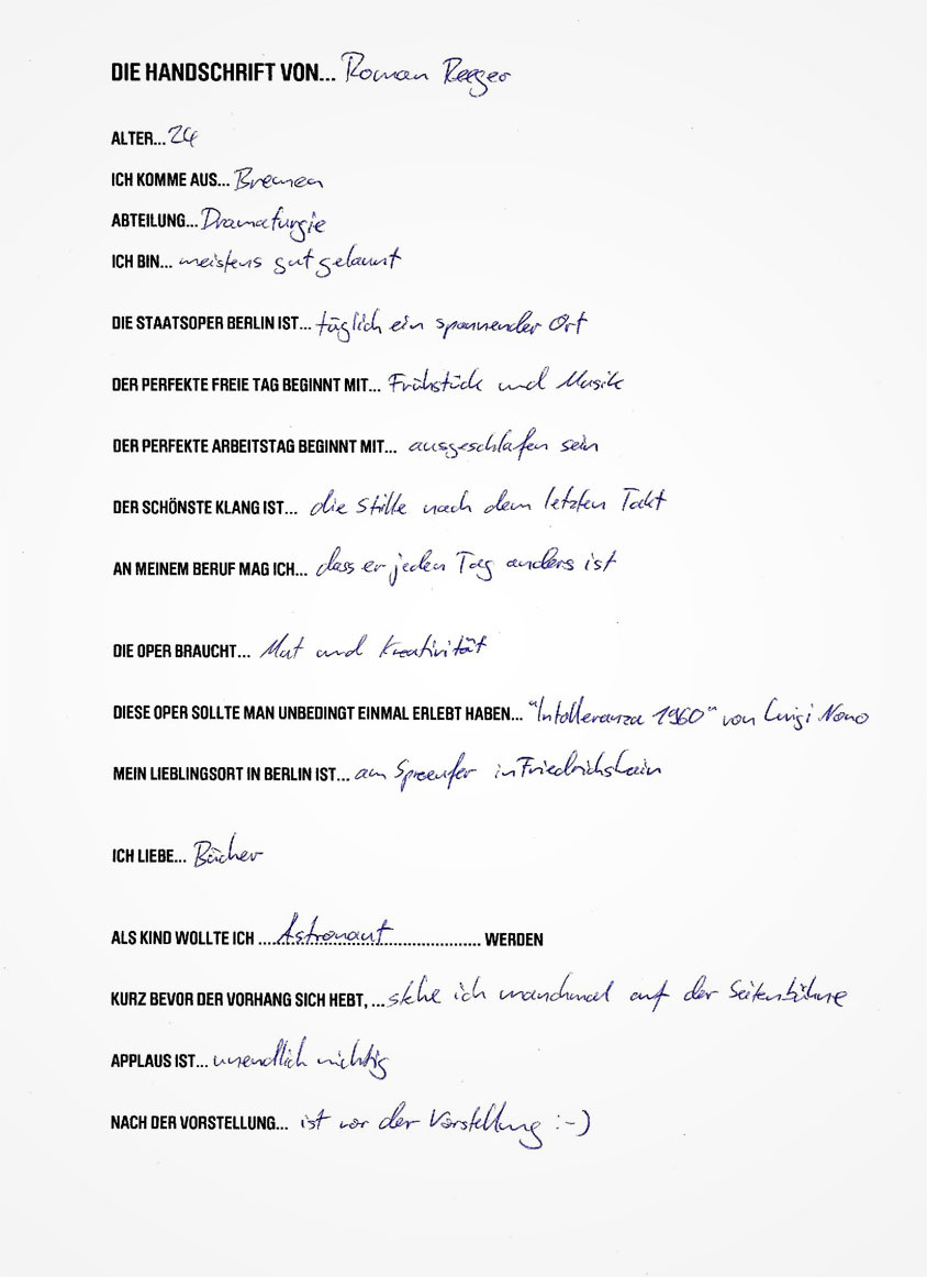 Handschrift von Roman Reeger