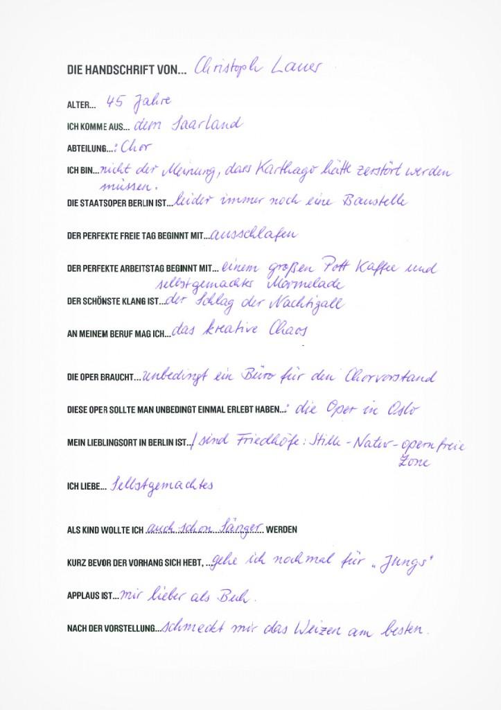 Die Handschrift von Christoph Lauer