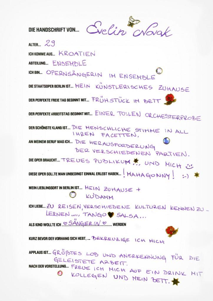 Handschrift von Evelin Novak
