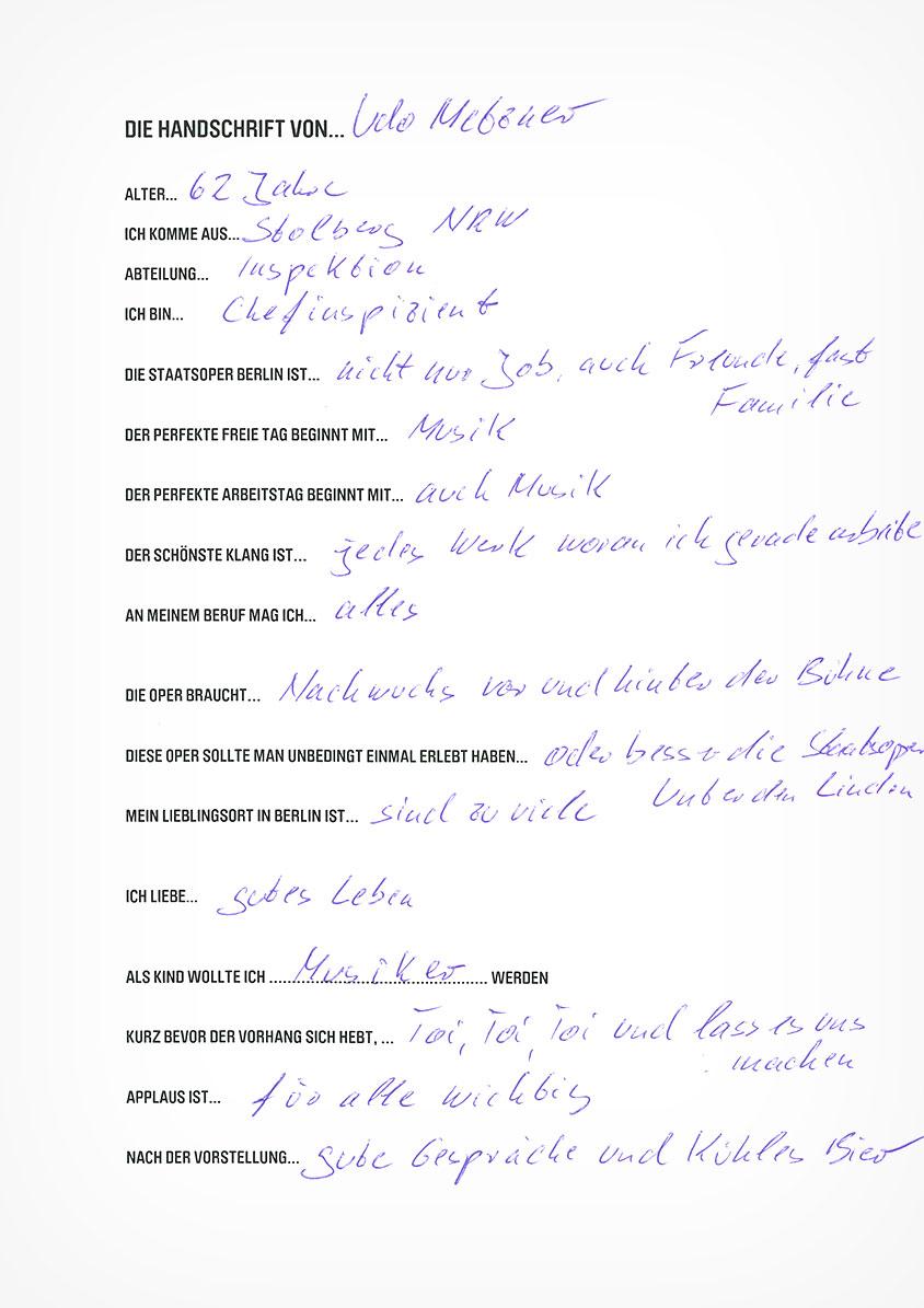 Die Handschrift von Udo Metzner