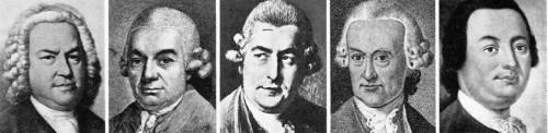 Johann Sebastian Bach und seine Söhne Carl Philipp Emanuel, Johann Christian, Wilhelm Friedemann, Johann Christoph d. J.