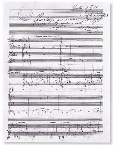 Autograph des Klavierquintetts Nr. 2 A-Dur op. 81 von Antonín Dvořák, Beginn des ersten Satzes