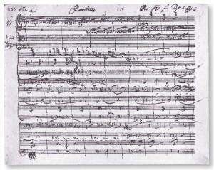 Autograph des Streichquartettsatzes c-Moll von Franz Schubert