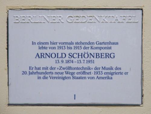 Berliner Gedenktafel für Arnold Schönberg Sembritzkistraße 33/33a, Berlin Steglitz, einem der Wohnorte Schönbergs in Berlin