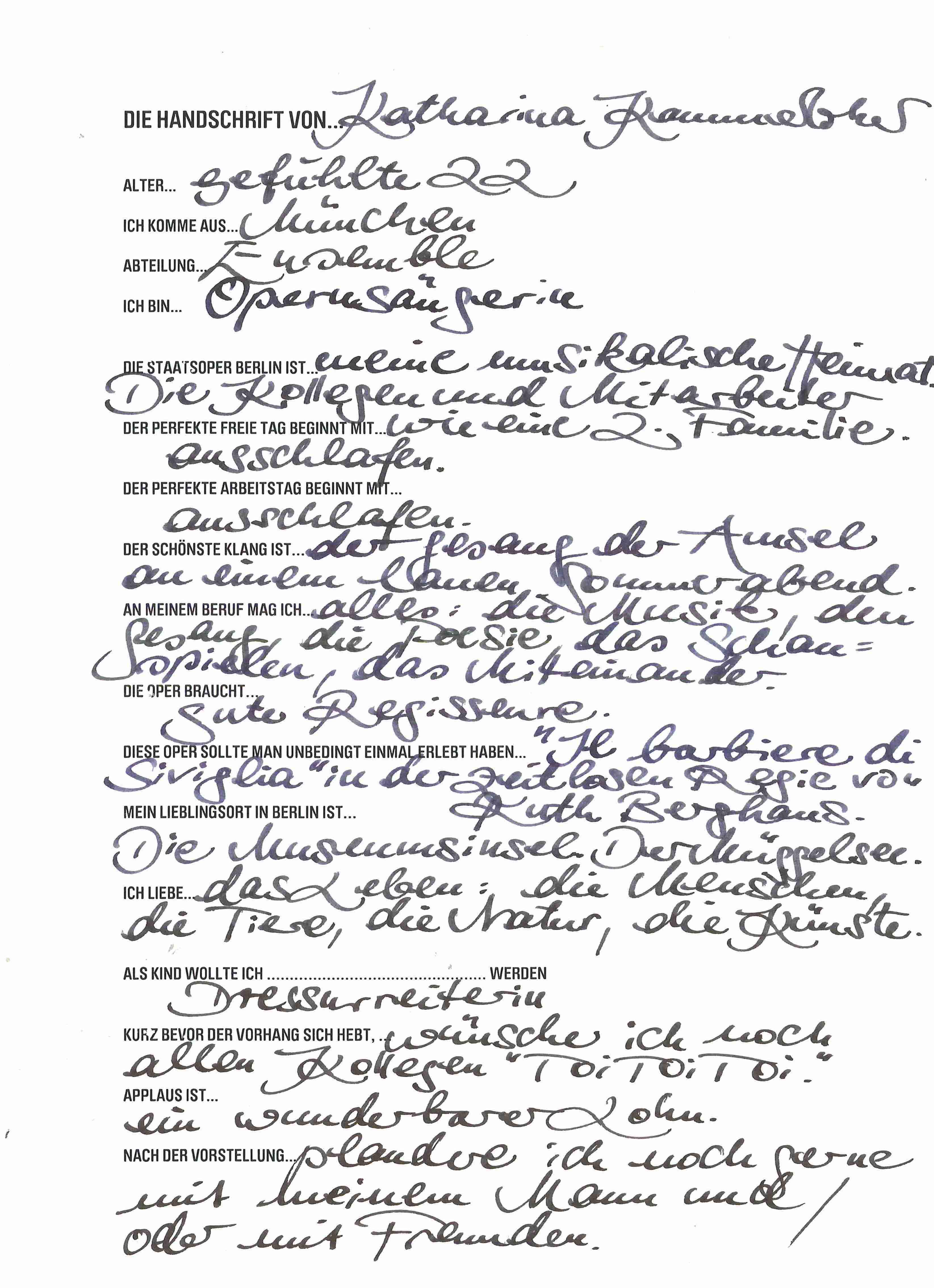 Die Handschrift von... Katharina Kammerloher
