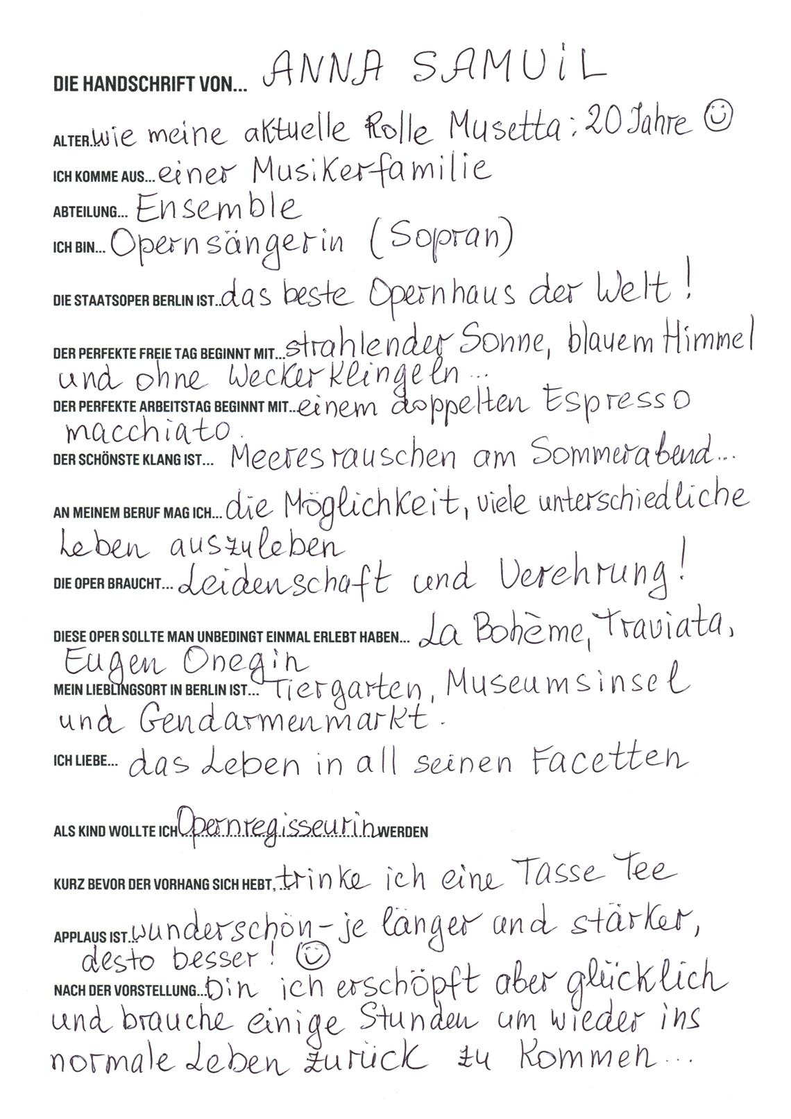 Die Handschrift von... Anna Samuil
