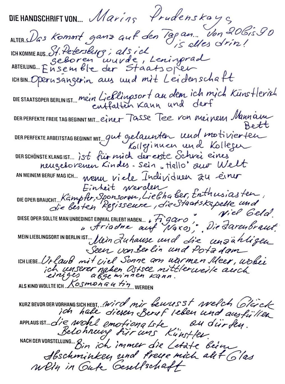 Die Handschrift von... Marina Prudenskaya