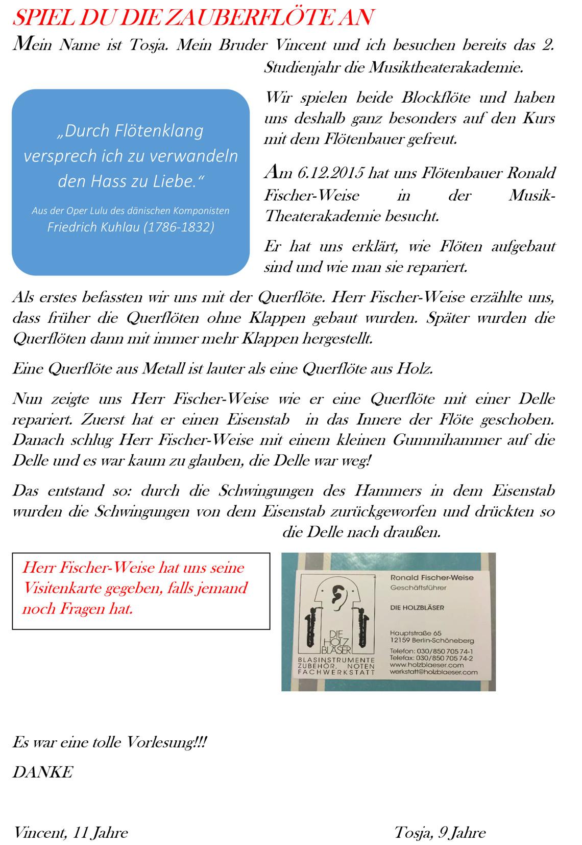 »Spiel du die Zauberflöte an« mit Ronald Fischer-Weise am 6. Dezember 2015