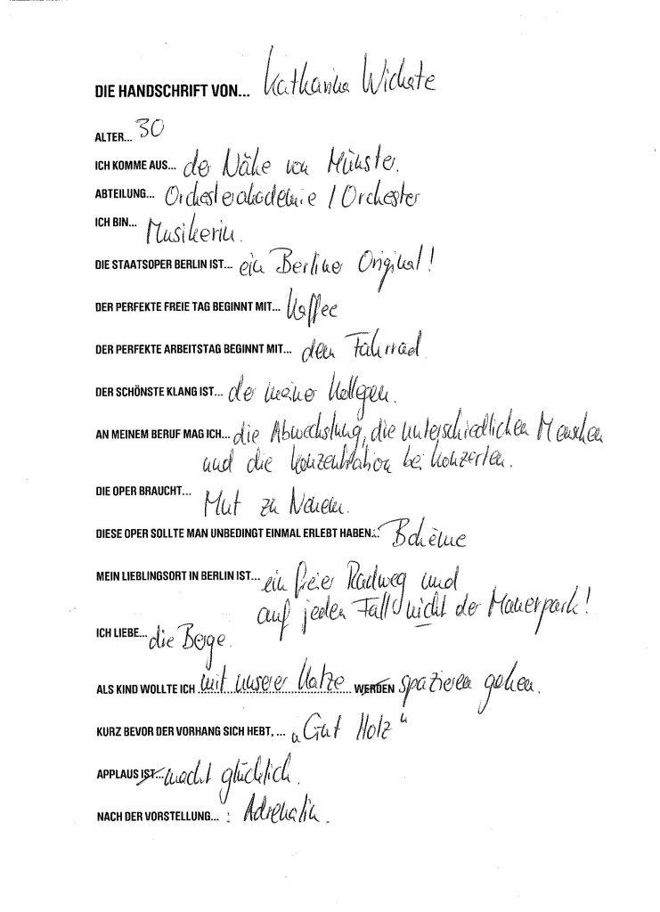 Handschrift von... Katharina Wichate